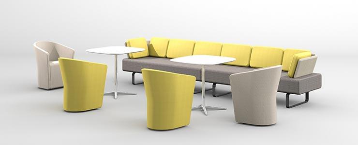 Arredo ufficio Bene: divano Settle colore giallo